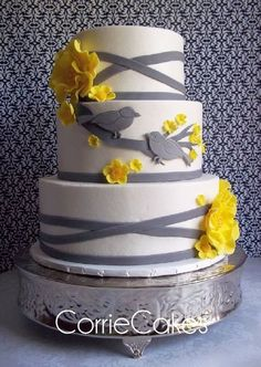 Yellow Gray Birds Wedding Cake - needs sage then it would be perfect!