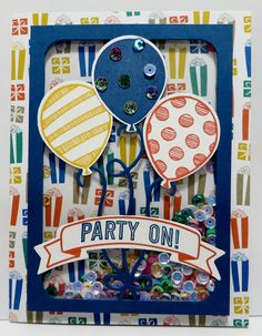 Party Animal DSP, Balloon Adventures Stamp Set, Pop-Up Thinlits Dies.  I also used the Balloon Bouquet Punch. Go to http://lynnslocker.blogspot.com/2016/12/stampin-up-presents-pinecones-peaceful.html to see this card.