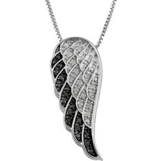 Jewel Exclusive Sterling Silver  Black and White Diamond Angel Wing... (40 CAD) ❤ liked on Polyvore featuring jewelry, pendants, multi, diamond jewelry, charm pendant, sterling silver pendant, sterling silver charms pendants and diamond pendant