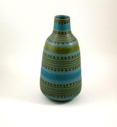 RESERVED FOR OLIVER: Blue and Green Italian Art Pottery Vase Designed by Alvino Bagni. $195.00, via Etsy.