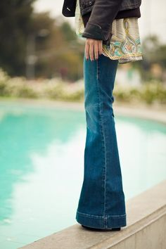 Favorite jeans cut - slim fit on top, retro bellbottoms
