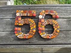 Mosaic Numbers Five (5) and Six (6)