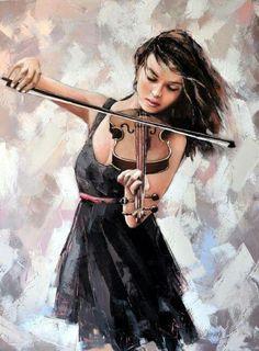 Illustration by Alexander Gunin — Violin, 2014 Art Triste, Violin Art, Violin Music, Figurative Art, Art Pictures, Photos, Female Art, Painting & Drawing, Photo Art