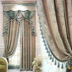 Luxury European style curtains custom luxury simple living room curtain Retro Jacquard Superb Process cloth curtain valance E483