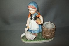 Vintage Verona Vergasi Girl Feeding Duck Candle by NANCYSANTIQUES, $9.99