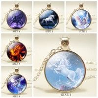 Wish | Full Moon Flying White Horse Glass Dome Pendant Silver Chain Necklace Wing Unicorn Glass Gems Fairytale Jewelry Woman Birthday Christmas Gift      1234