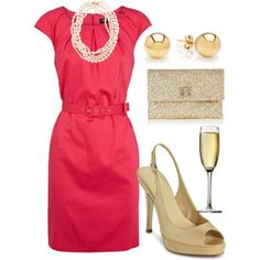 wedding guest. champagne is a must. fushcia dress is only $60 <3