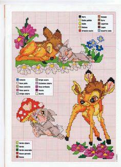 Bambi and Thumper Bunny cross stitch
