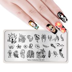 Halloween Stamping Plate Scary Skulls – – - New Sites Nail Art Halloween, Halloween Halloween, Scary Nails, Nagel Stamping, Nail Art Stencils, Feather Nail Art, Nail Stamper, Thanksgiving Nail Art, Geometric Nail Art