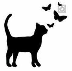 Resultado de imagem para silhouette of felines and butterflies Cat Applique, Applique Patterns, Silhouette Chat, Cat Silhouette Tattoos, Cat Quilt, Cat Crafts, Cat Pattern, Cat Drawing, Cat Tattoo