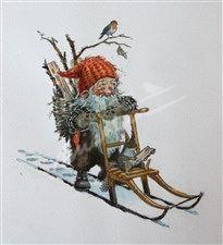 Nisse på spark (Gnome) - Kjell Midthun Norwegian Nisse, Tomtar Gnomes ...