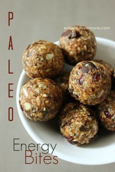 Nutrient rich seeds, coconut flakes, and dates make up the base of this delicious paleo energy bite, and the dried cranberries and chocolate just bring it to the next level! -- The Nourishing Gourmet