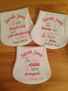 Set of Three Bible Verse Burp Cloths Pink and by SewYoungAtHeart, $30.00