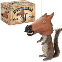 """This hanging vinyl 6-1/2"""" x 10"""" (16.5 cm x 25.4 cm) squirrel feeder makes it appear as if any squirrel that eats from it is wearing a Horse Mask. You'll laugh every morning as you drink your coffee wh"""