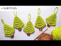 christmas tree garland In this tutorial Im going to show you how to crochet an easy Christmas tree ornament step by step. This is a great pattern for beginners, because it works super fast and uses some basic crochet techniques Christmas Tree Garland, Crochet Christmas Ornaments, Christmas Flowers, Simple Christmas, Christmas Crafts, Crochet Ornament Patterns, Christmas Crochet Patterns, Dollar Tree Decor, Dollar Tree Crafts