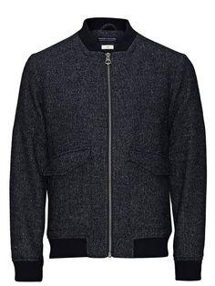 Jack & Jones Wollmischfaser-Blouson- Jacke für 159,95€. Slim-Fit-Web-Blouson mit Melange-Effekt, Das Model trägt Größe L und ist 187 cm groß bei OTTO