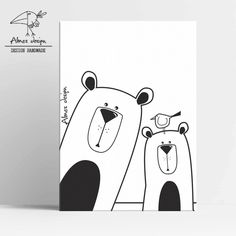 Small picture printed on cotton canvas. Baby Animal Nursery, Bear Nursery, Nursery Art, Nursery Decor, Room Decor, Baby Animals Pictures, Grafik Design, Print Pictures, Easy Drawings
