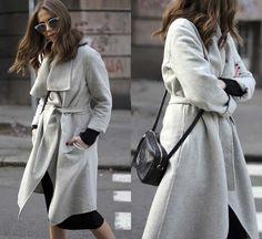 NWT ZARA Light Gray Hand Made Wool Blend Coat with Belt Wrap Size XS Ref.7522/04 #ZARA #BasicCoat