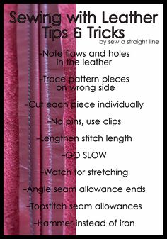 sew a straight line: Leather Lessons: sewing trick and tips