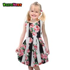 eb164a4f0 2018 New Summer V-Neck Dresses Girls Short Sleeve Floral Embroidery ...