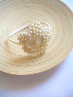 Pearl Embroidered Flower Tiara Bridal Headpiece Flower