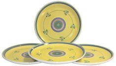 Caleca Carousel 4 piece dinner plate set, service for 4 by Caleca. $47.91. Award-winning Carousel pattern, which in 1990 Caleca received the International Tabletop Award, a yellow pattern whose solarity and simplicity is liked by everyone and whose attractive, refined look is adaptable to any environment. Chip-resistant. Dishwasher safe; microwavable. All natural majolica/ceramic components individually hand-painted with non-toxic glazes and colors. Includes four...