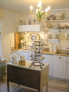 This warm French farmhouse inspired kitchen