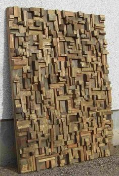 Highly distinctive expressionistic artwork by Canadian wood artist Olga Oreshyna, unique compositions of richly textured surfaces and intricate wood blocks shape Driftwood Furniture, Driftwood Wall Art, Driftwood Crafts, Scrap Wood Art, Wooden Wall Art, Wood Sculpture, Wall Sculptures, Industrial Style Furniture, Wood Wreath