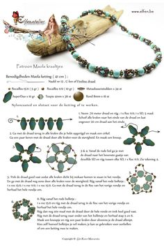 FREE Tutorial: MAOLA Necklace from Elfenatelier. se: For a 41cm long necklace you need: 5g seed beads 15/0, 10g seed beads 11/0, 34 metal daisies, 10g SuperDuo beads, 36 bicone beads 4mm, 16 round beads 8mm, needle #12, C-lon or Fireline thread, nylon-coated wire (to string the necklace)