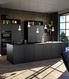 Kitchen Room Design, Modern Kitchen Design, Home Decor Kitchen, Black And Grey Kitchen, Black Kitchens, Open Plan Kitchen Dining Living, Modern Home Interior Design, Dark Interiors, Home Design Plans