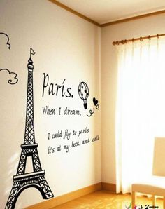 50*70 cm GIANT BLACK EIFFEL TOWER WALL DECALS Paris Stickers Modern Decor