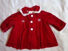 Vintage  1930's  Childs coat red silk velvet by vintagewayoflife