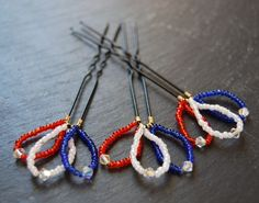 St Georges Day Red White and Blue Seed Bead and by LoveandCherish, $12.00