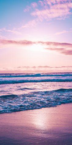 Seashore, sea waves, sunset, beach, 1080x2160 wallpaper
