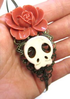 Day of the Dead Sugar Skull Headband Aged Brass by sweetie2sweetie, $13.99