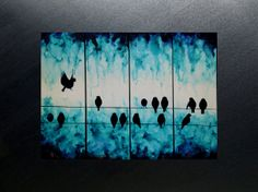ORIGINAL turquoise canvas art birds on wire abstract contemporary four canvas tetraptych wall art large 24x32 on Etsy, $290.00