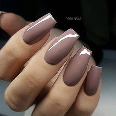REPOST - - - - Classy Mauve-Brown on Coffin Nails - - - - Picture and Nail Design by posh_nails_sara her for more gorgeous nail art designs! Classy Nail Designs, Beautiful Nail Designs, Nail Art Designs, Nails Design, Salon Design, Posh Nails, Fun Nails, Bling Nails, Gorgeous Nails