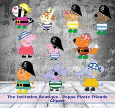 Peppa Pig Inspired Pirate Clipart Pack  by TheInvitationBoutiqu