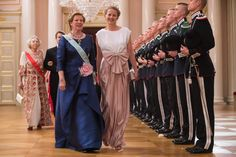 Queen Anne Marie of Greece and Princess Mabel of The Netherlands arrive for a gala dinner at the Royal Palace in Oslo, Norway on May 9, 2017 to mark the 80th Birthday of the King and Queen.