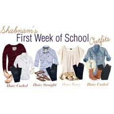 First Week of School Outfits, created by shabnam on Polyvore