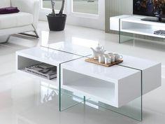 Table basse BROOKE , achat pas cher Table basse BROOKE MDF laqué et verre trempé Blanc prix promo Table Basse Vente Unique 349,99 € TTC prix constaté : 399 €