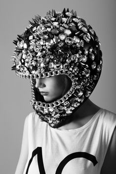 Bejewelled Helmet with Spike Detailing!  Out of this world!!!!!!    BLUE ANGEL, editorial for SOMA Magazine, shot by Filippo Del Vita, styled by Elena Moussa http://trendland.com/filippo-del-vita-photography/#