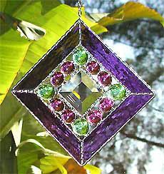 Stained Glass Sun Catcher - Purple Stained Glass Suncatcher - Nuggets and Center Bevel - Glass Suncatchers - 9705-PU by StainedGlassDelight on Etsy