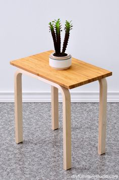 Easy IKEA Hack DIY side table made with frosta stool and aptitlig chopping board feature photo
