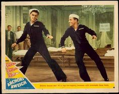 """Frank Sinatra and Gene Kelly  Movie Posters in """"Anchors Aweigh"""" lobby card original vintage film poster. Frank Sinatra vintages"""