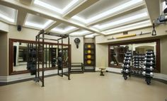 Very fancy-pants home gym. Lots of space and great dumbbell selection