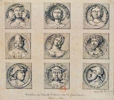 Manoir des gens d'Armes, Caen, Normandy bas relief medallion drawings by Theodore Basset de Jolimont 1820