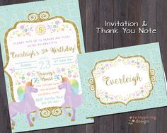 Pink gold 1st birthday invitations and envelopes hearts and unicorn gold mint pink whimsical birthday party invitations andor thank you notes stopboris Image collections