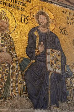 Christ Pantocrator, Byzantine mosaic from the Hagia Sophia. Istanbul, Turkey.