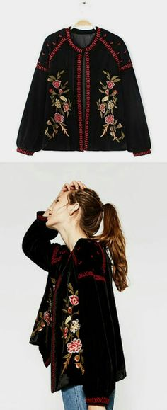 Winter outfits floral embroidery jacket